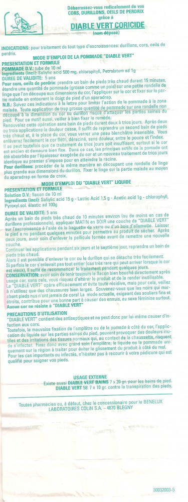 Notice Coricide Diable Vert, Laboratoires COLIN S.A.